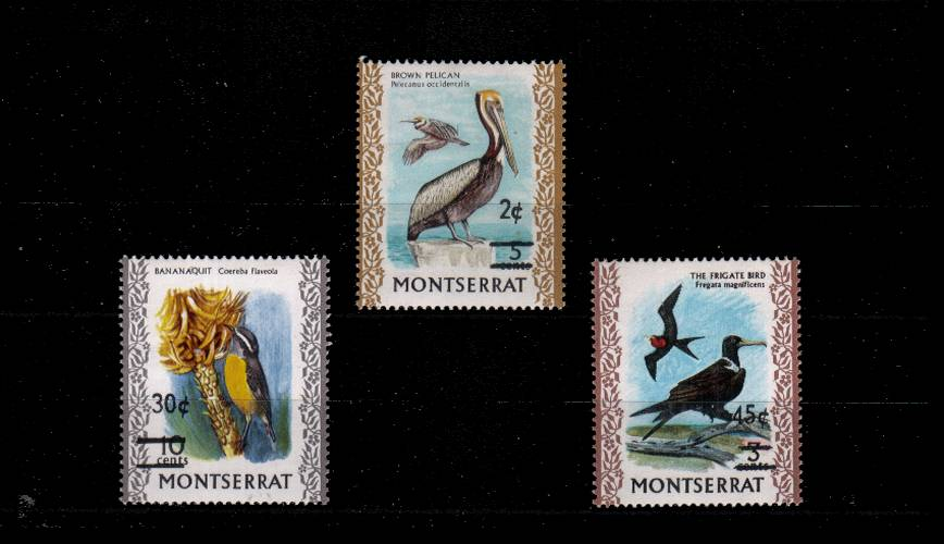 The Birds surcharged set of three superb unmounted mint.