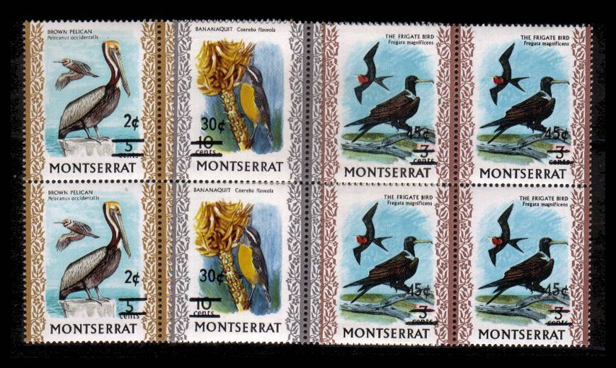 The Birds surcharged set of three in superb unmounted mint blocks of four.
