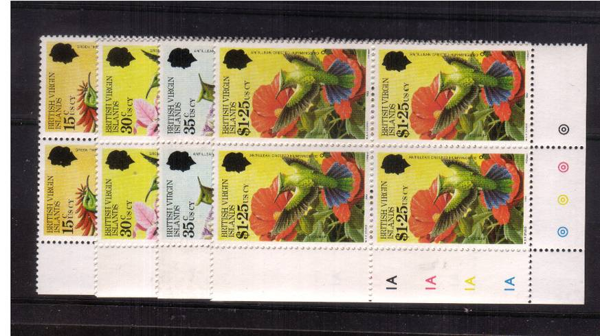 Hummingbirds set of four<br/>In superb unmounted mint cylinder blocks of four.