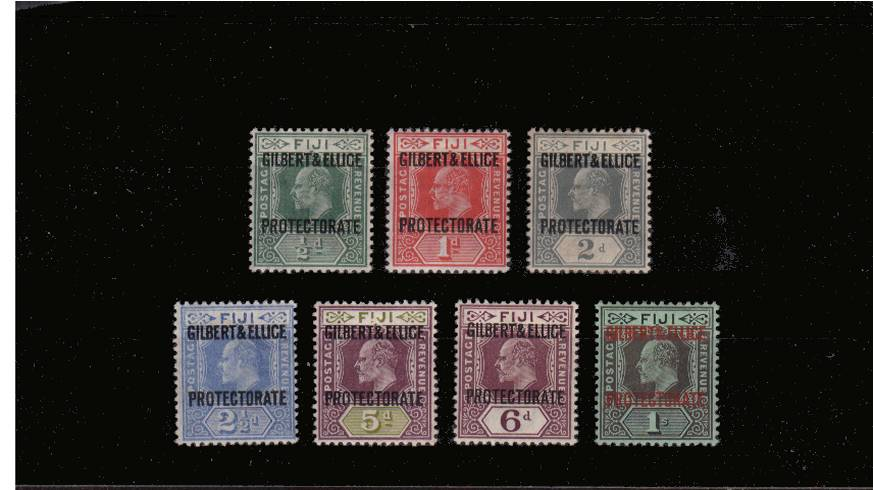 The ''GILBERT & ELLICE'' overprint set on Fiji stamps<br/>very lightly mounted mint set of seven.<br/>SG Cat �0