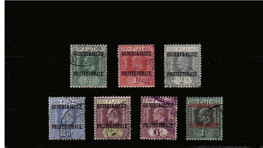 The ''GILBERT & ELLICE'' overprint set on Fiji stamps superb fine used set of seven.<br/>Please note the 2d value has full peforations!<br/>SG Cat �5