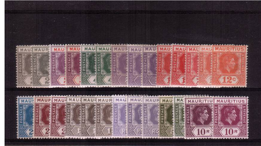 The George 6th complete set of twenty-seven all superb unmounted mint that<br/>includes all GIBBONS listed perforation changes and shades.<br/>