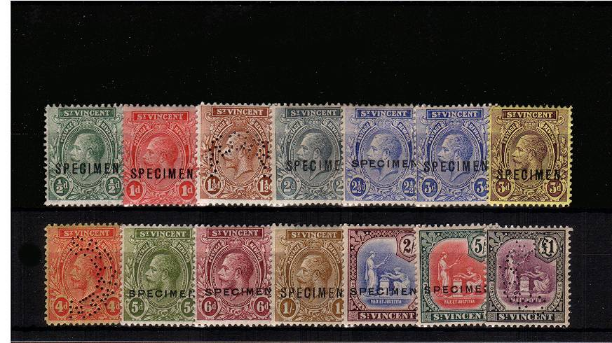 The Multiple Script set of fourteen lightly mounted mint perfined or overprinted ''SPECIMEN''.