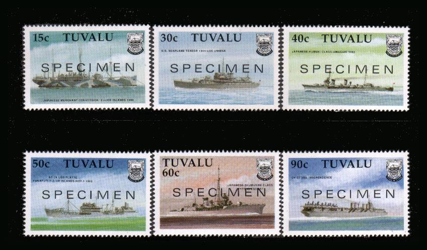 Second World War Ships - 1st Series.<br/>A superb unmounted mint set of six overprinted SPECIMEN.