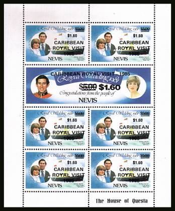 Royal Visit overprint on Charles and Diana Royal wedding sheetlet showing error of vales of $1.60. Should be $1.50