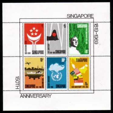 The famous ''Founding of Singapore'' minisheet.<br/>The rarest standard Commonwealth Minisheet, only 9067 sold!!<br/>Superb unmounted mint.<br/>SG Cat �5.00
