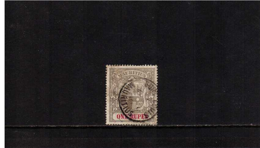 1R Grey-Black and Carmine good used with a PORT LOUIS CDS cancel. The stamp is slightly rubbed on front hence price SG Cat �