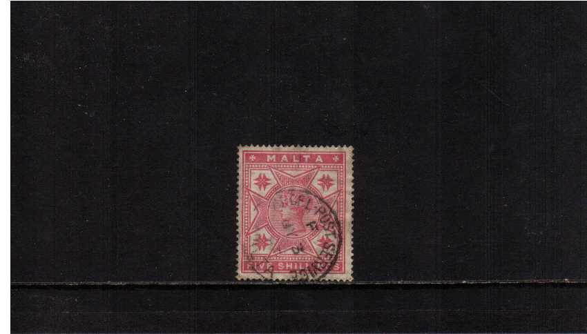 5/- Rose cancelled with a MALTA PARCEL POST SERVICE dated CDS.