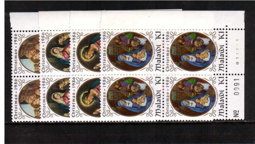 Christmas set of four in superb unmounted mint corner cylinder blocks of four.