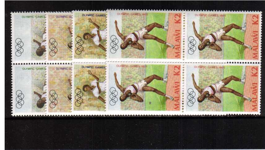 Olympic Games set of four in superb unmounted mint blocks of four.
