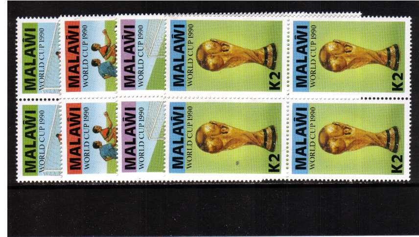 World Cup set of four in superb unmounted mint blocks of four.