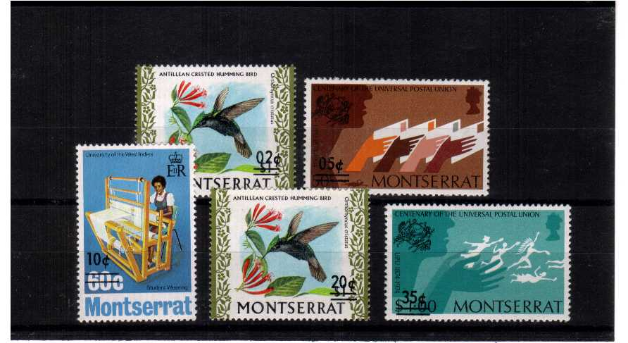 The surcharged set of five superb unmounted mint.